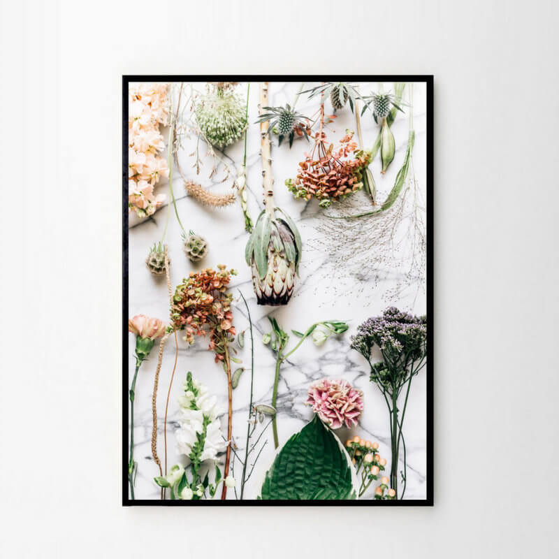 Foto Plakat Kwiaty Na Marmurze
